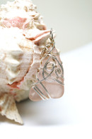 Rare Pink Sea Glass Sterling Wrapped pendant