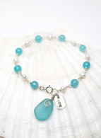 "Simple Inspirations Bracelet- Turquoise Sea Glass ""LOVE"""