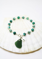 "Simple Inspirations Bracelet- Sea Green Sea Glass ""JOY"""