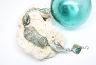 Sterling Wrapped Ice Blue Sea Glass & Shell Bracelet