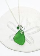"Simple Inspirations Necklace~ Green Sea Glass ""HOPE"""