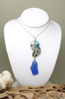 Abalone & True Blue Sea Glass Necklace
