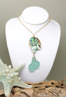 Abalone & Mint Sea Glass 14k Necklace