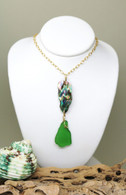 Abalone & Kelly Green Sea Glass 14k Necklace