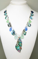 Abalone Sea Glass Charm Necklace