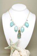 Turquoise Sea Glass and Amazonite 14k Necklace
