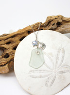 Sand Dollar Charm Necklace~Ice Blue Sea Glass