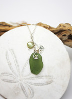 Sand Dollar Charm Necklace~Light Olive Sea Glass