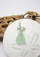 Sand Dollar Charm Necklace~Mint Sea Glass