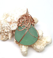Rose Gold Wrapped Aqua Sea Glass Pendant