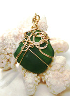 Gold Wrapped Emerald Green Sea Glass Pendant