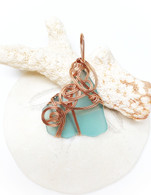 Rose Gold Wrapped Turquoise Sea Glass Pendant