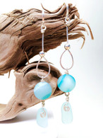 Banded Agate & Light Turquoise Sea Glass Hammered Sterling Earrings