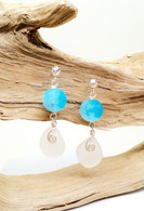 White Sea Glass & Agate Drop Earrings