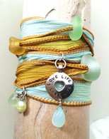 Mint & Amber Sea Glass Wrap Bracelet~ Proceeds benefit the Fistula Foundation