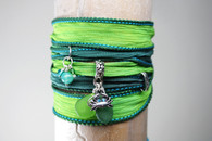 Green Sea Glass Wrap Bracelet~ Proceeds benefit the Fistula Foundation