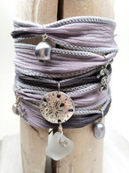 Gray Sea Glass Wrap Bracelet~ Proceeds benefit the Fistula Foundation
