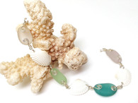 Sea Glass & Shell Link Bracelet