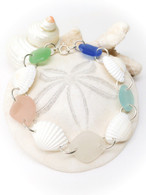 Pastel Sea Glass Chunk & Shell Link Bracelet