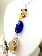 Kauai Cobalt Sea Glass & Sterling Wrapped Sea Glass Marble Necklace