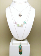 Sterling Layered Sand Dollar,  Sea Glass & Abalone Necklace