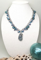 Gray Sea Glass & Stainless Steel Charm Necklace