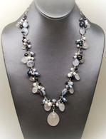 Black & White Cluster Sea Glass Necklace
