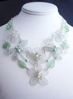 Sea glass dragonfly and flower bib