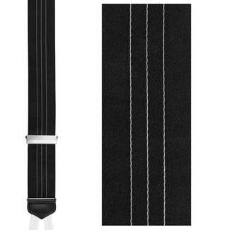 Ascot Satin Formal Suspenders with Silver Clinch - Formal Trafalgar Braces