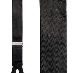 Herringbone Formal Suspenders - Black Silk Herringbone Pattern Formal Braces