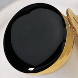 Button Cover - Faux Black Onyx with Gold Trim