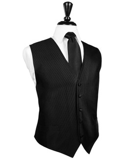 Faille Silk Black Full Back Silk Tuxedo Vest by Cardi