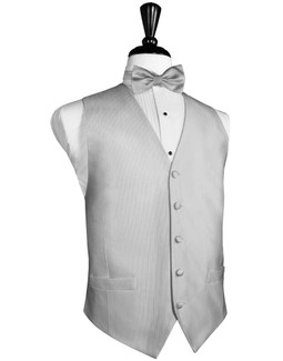Faille Silk Silver Full Ivory Silk Tuxedo Vest by Cardi