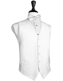 Faille Silk Silver Full White Silk Tuxedo Vest by Cardi