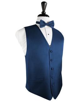 Sapphire Blue Herringbone Tuxedo Vest