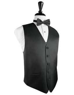 Asphalt Herringbone Tuxedo Vest