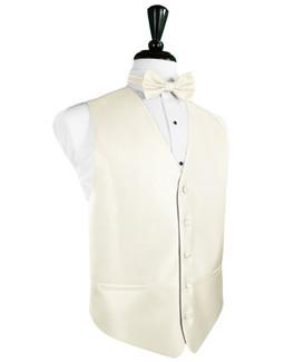 Ivory Herringbone Tuxedo Vest