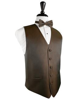 Mocha Herringbone Tuxedo Vest