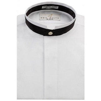 Thick Black Banded Mandarin Tuxedo Shirt  Fly Front