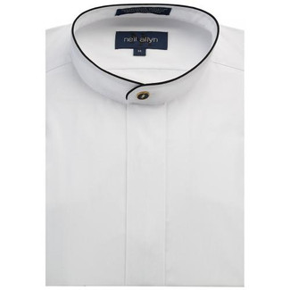 Mandarin Fly Front Tuxedo Shirt  Black Piping