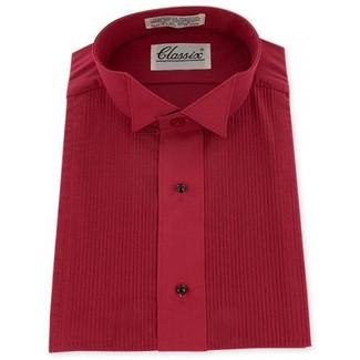 Wing Collar Red Tuxedo Shirt