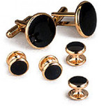 Black Cufflinks and Studs With Gold Trim