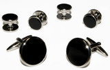 Black Cufflinks and Studs With Silver Trim
