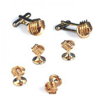 Gold Love Knots Cufflinks and Studs