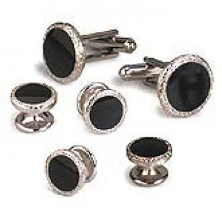 Faux Black Onyx with Silver Trim Cufflinks & Studs