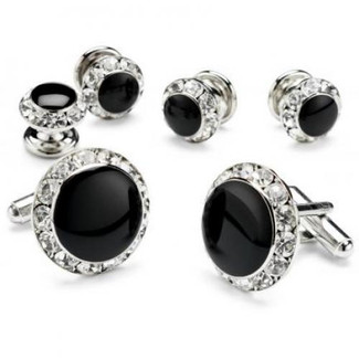 Black Onyx with Rhinestone Studded Cufflinks and Studs