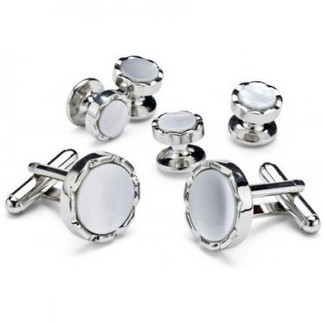 Mother of Pearl with Brushed Silver Cufflinks and Studs