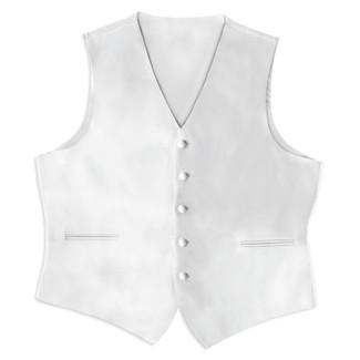 Satin Full Back Tuxedo Vest in White