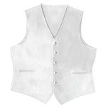 Satin Full Back Tuxedo Vest in White
