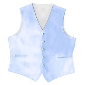 Satin Full Back Tuxedo Vest in Light Blue